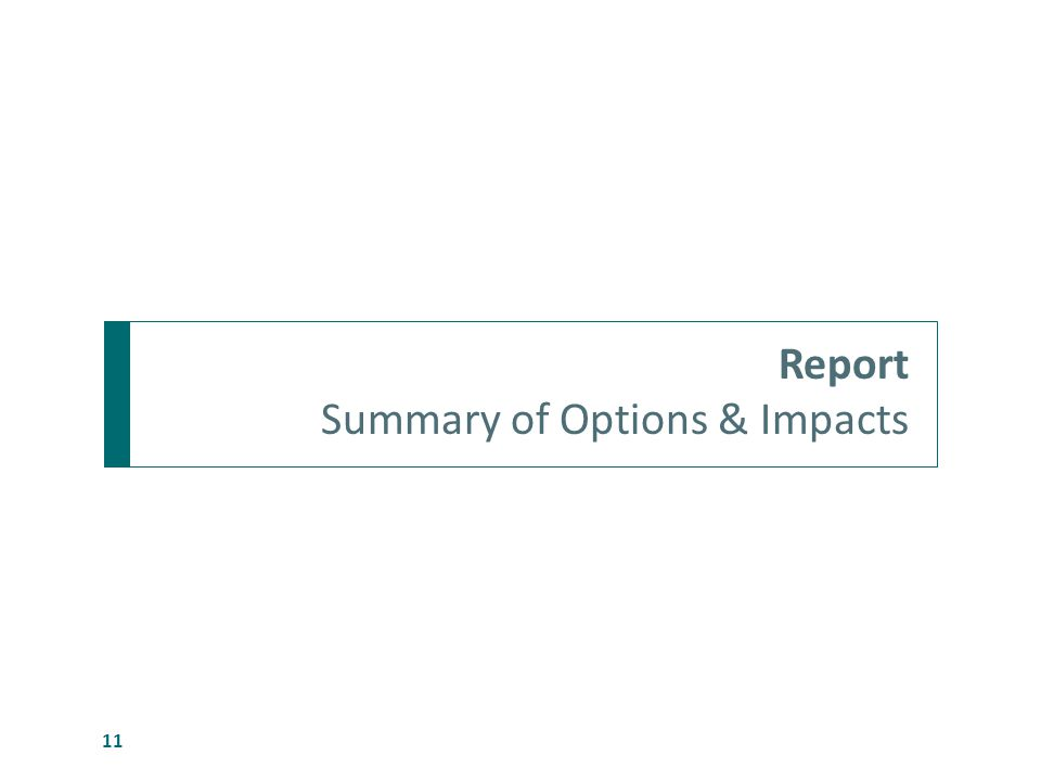 Report Summary of Options & Impacts 11