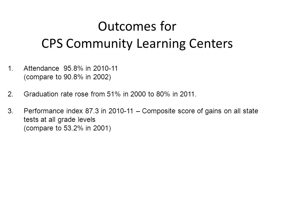 Outcomes for CPS Community Learning Centers 1.