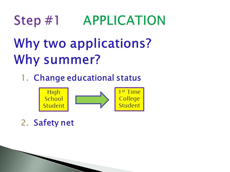 Why two applications. Why summer.