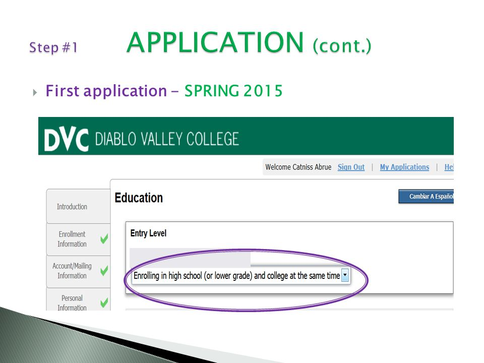  First application - SPRING 2015