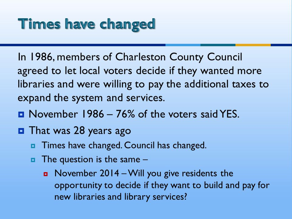 In 1986, members of Charleston County Council agreed to let local voters decide if they wanted more libraries and were willing to pay the additional taxes to expand the system and services.
