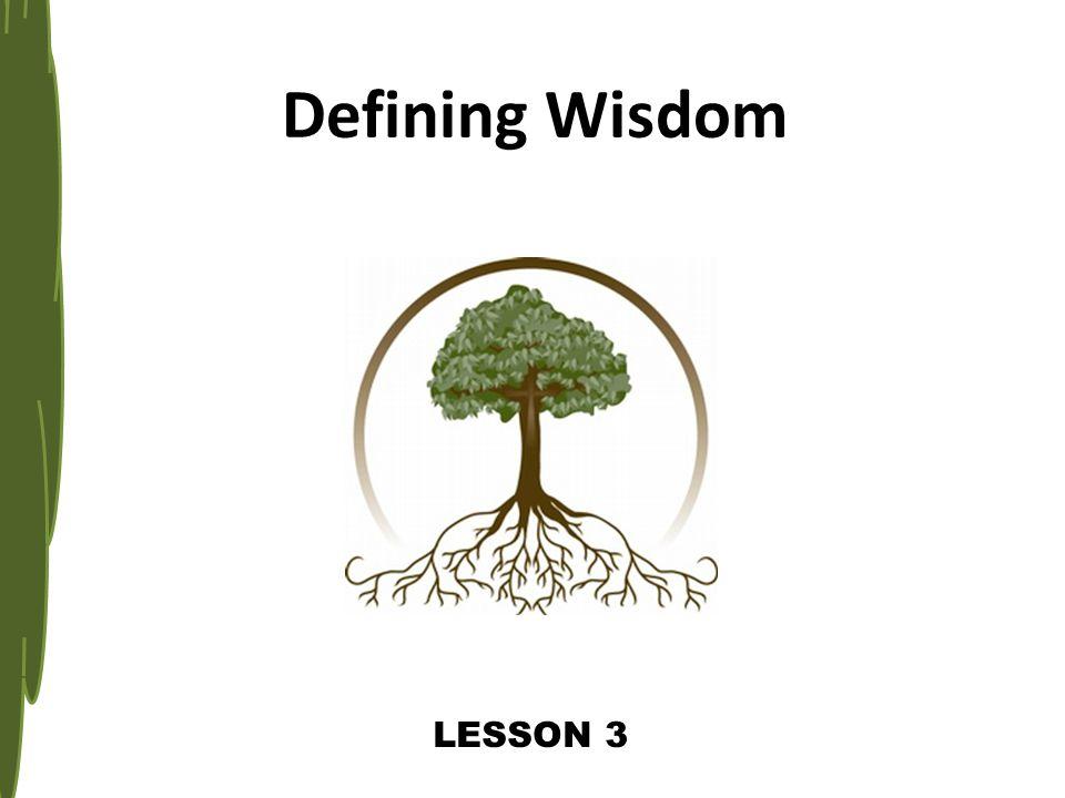 LESSON 3 Defining Wisdom