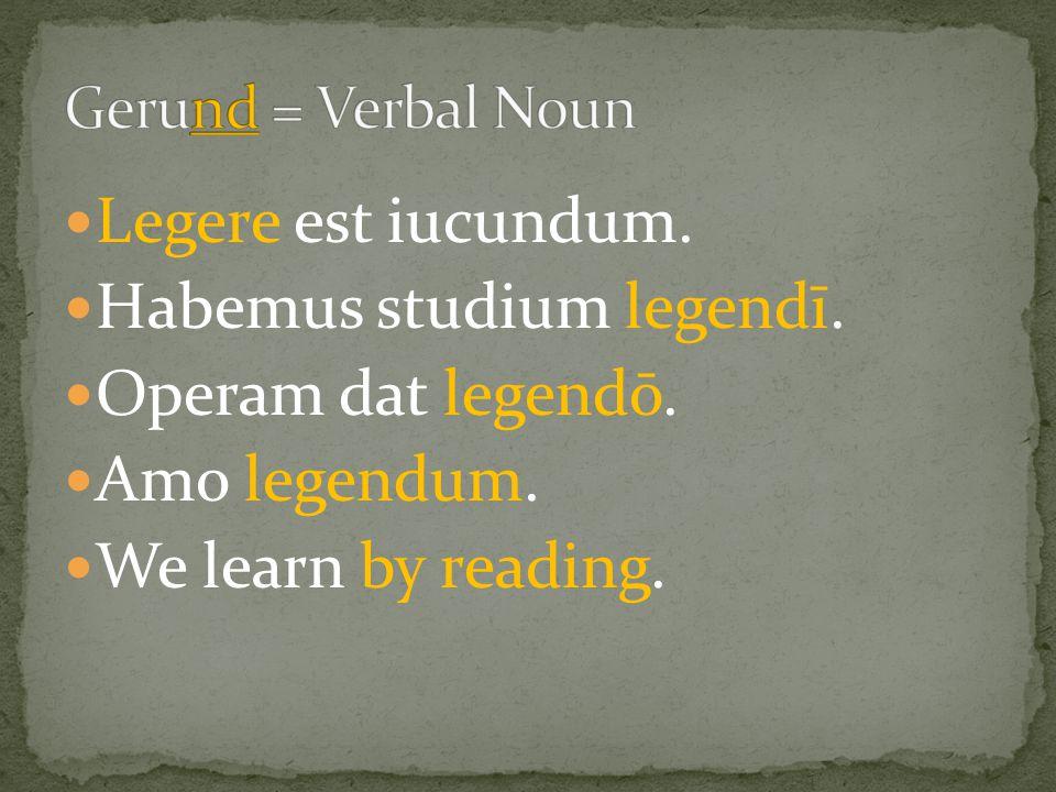 Legere est iucundum. Habemus studium legendī. Operam dat legendō.