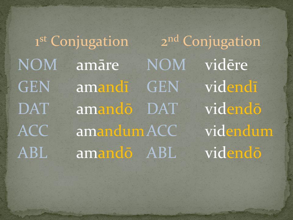 1 st Conjugation NOMamāre GENamandī DATamandō ACC amandum ABLamandō 2 nd Conjugation NOMvidēre GENvidendī DATvidendō ACC videndum ABLvidendō