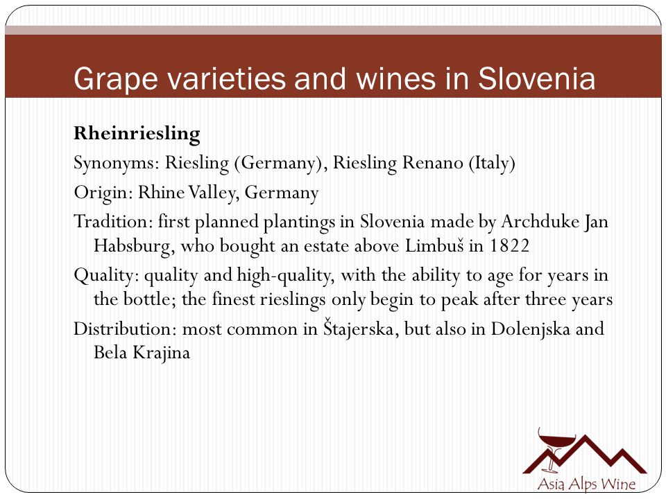 Grape varieties and wines in Slovenia Rheinriesling Synonyms: Riesling (Germany), Riesling Renano (Italy) Origin: Rhine Valley, Germany Tradition: first planned plantings in Slovenia made by Archduke Jan Habsburg, who bought an estate above Limbuš in 1822 Quality: quality and high-quality, with the ability to age for years in the bottle; the finest rieslings only begin to peak after three years Distribution: most common in Štajerska, but also in Dolenjska and Bela Krajina