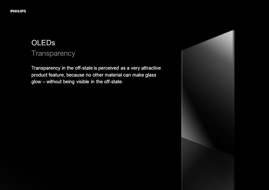 OLEDs Transparency Transparency in the off-state is perceived as a very attractive product feature, because no other material can make glass glow – without being visible in the off-state.