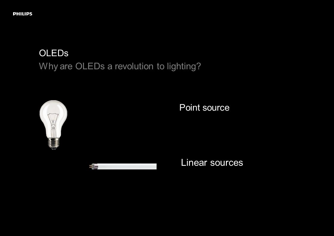 OLEDs A new perception of light Rather than a beam emerging from a single light-emitting point, light coming from the larger surface provides pleasant, uniform illumination.