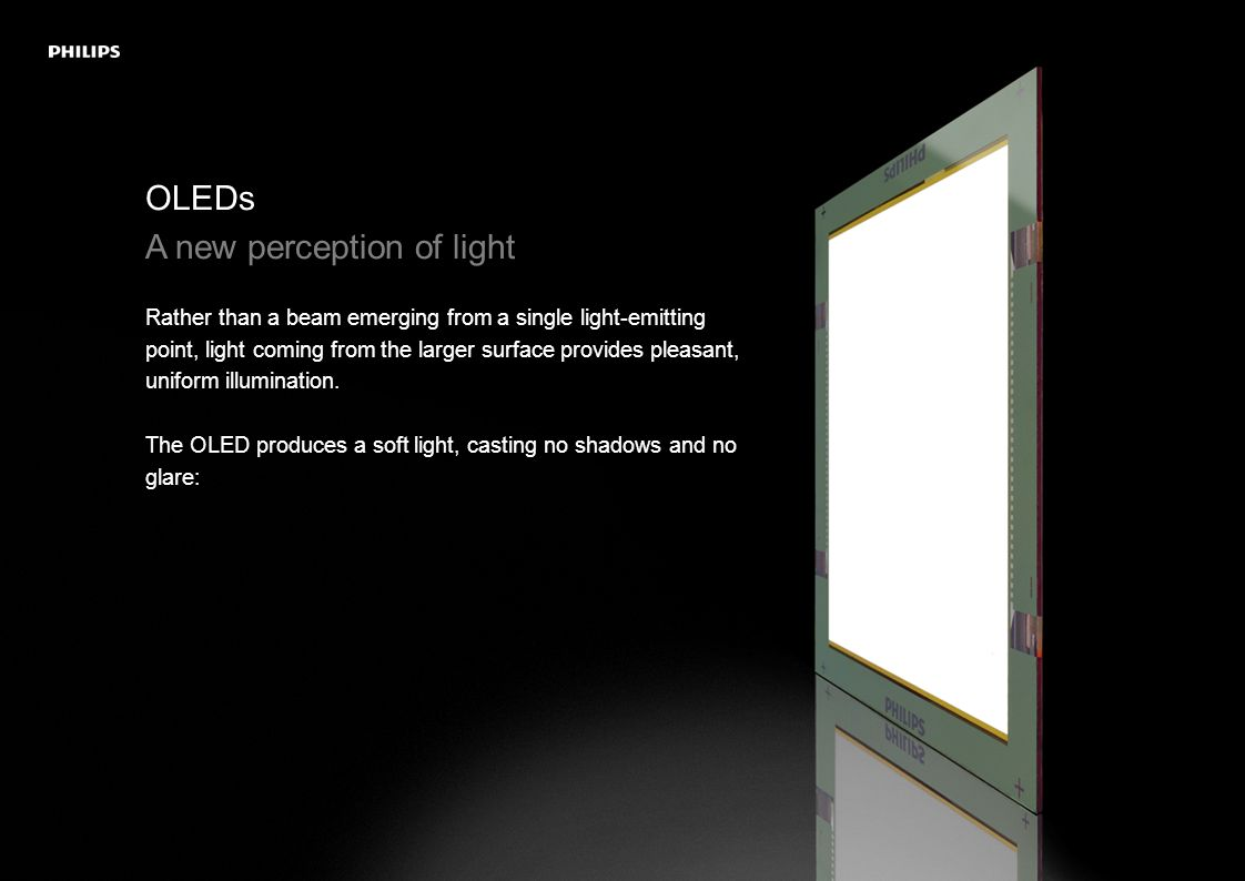 OLEDs Instant on and dimmable Instant on and smooth dimming are possible.