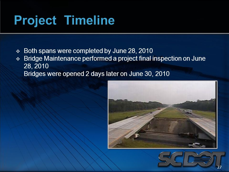  Both spans were completed by June 28, 2010  Bridge Maintenance performed a project final inspection on June 28, 2010 Bridges were opened 2 days later on June 30, 2010 27