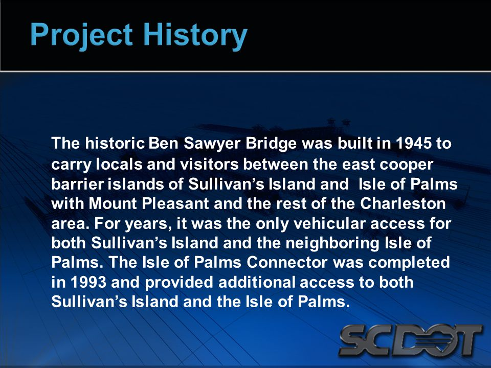 The historic Ben Sawyer Bridge was built in 1945 to carry locals and visitors between the east cooper barrier islands of Sullivan's Island and Isle of Palms with Mount Pleasant and the rest of the Charleston area.
