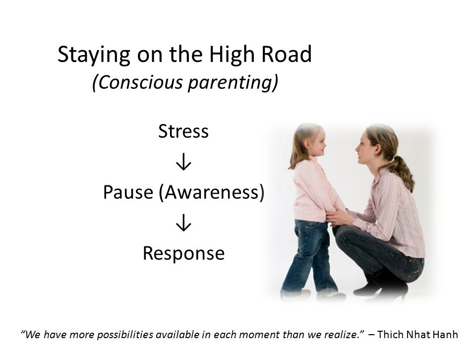 Staying on the High Road (Conscious parenting) Stress ↓ Pause (Awareness) ↓ Response We have more possibilities available in each moment than we realize. – Thich Nhat Hanh