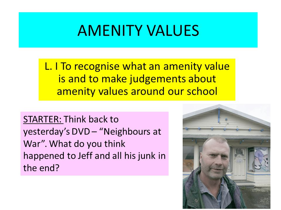 WHAT ARE AMENITY VALUES.