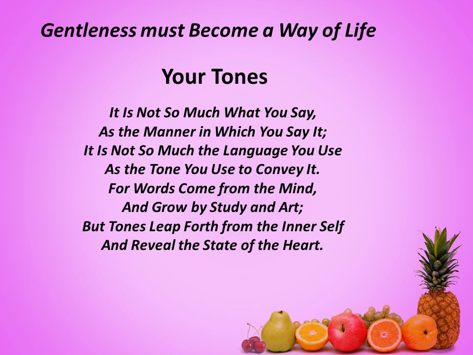 Gentleness must Become a Way of Life Your Tones It Is Not So Much What You Say, As the Manner in Which You Say It; It Is Not So Much the Language You Use As the Tone You Use to Convey It.