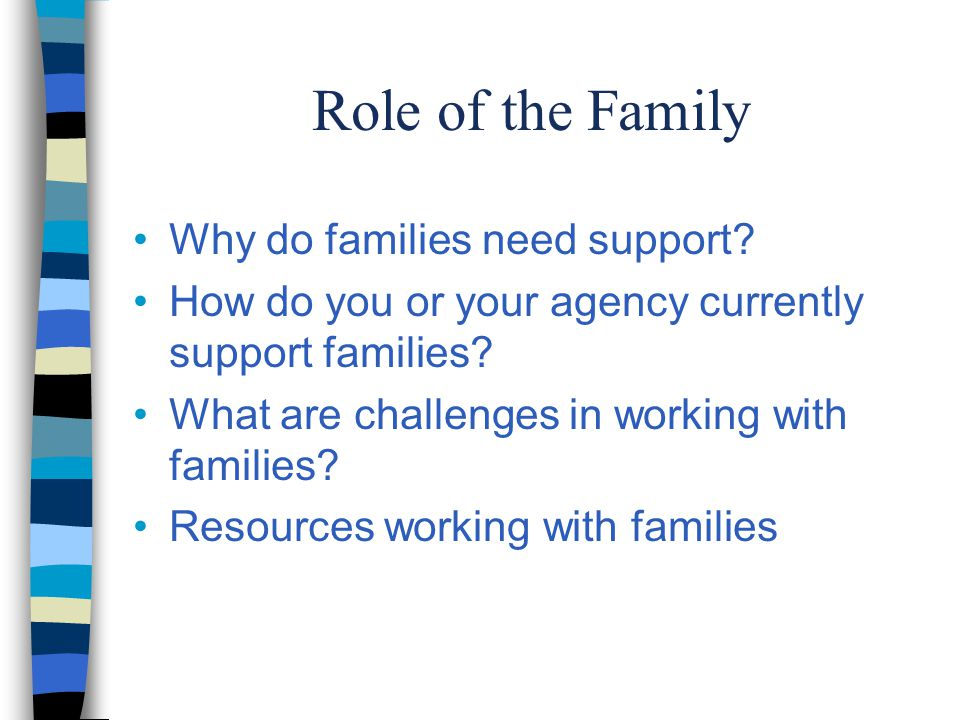 Role of the Family Why do families need support.