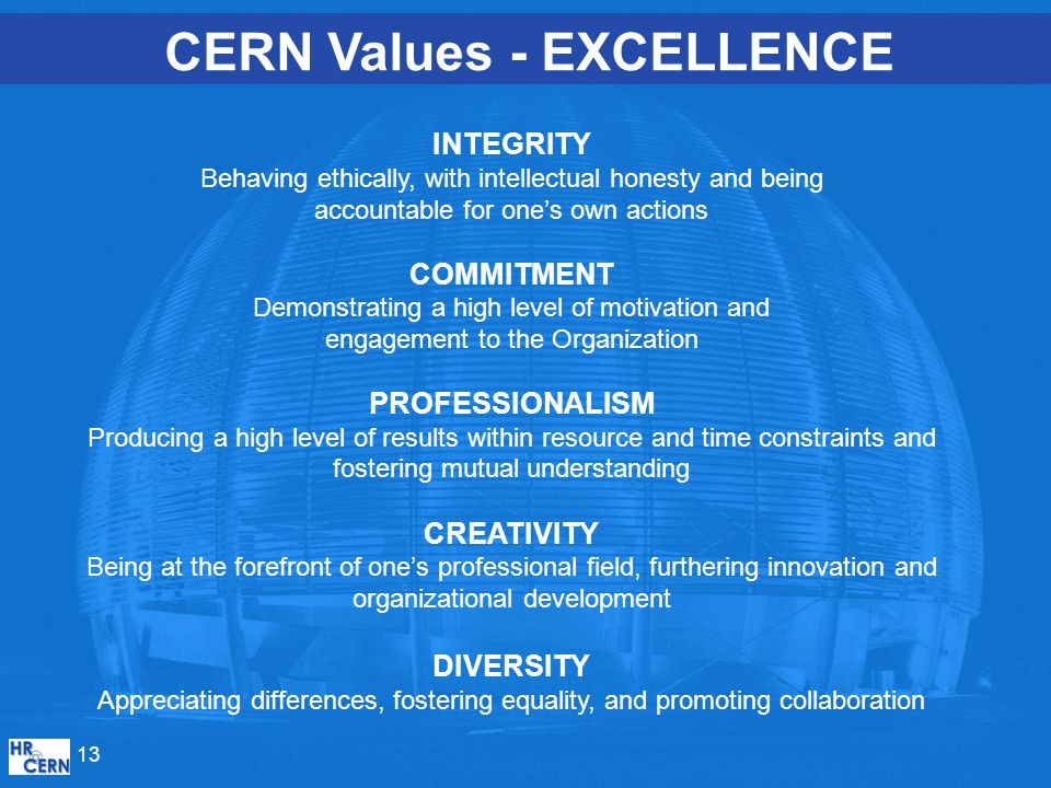 CERN Values - EXCELLENCE INTEGRITY Behaving ethically, with intellectual honesty and being accountable for one's own actions COMMITMENT Demonstrating a high level of motivation and engagement to the Organization PROFESSIONALISM Producing a high level of results within resource and time constraints and fostering mutual understanding CREATIVITY Being at the forefront of one's professional field, furthering innovation and organizational development DIVERSITY Appreciating differences, fostering equality, and promoting collaboration 13