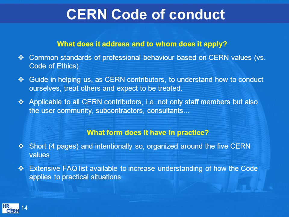 CERN Code of conduct What does it address and to whom does it apply.