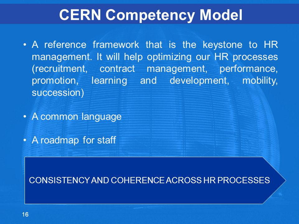 CERN Competency Model A reference framework that is the keystone to HR management.