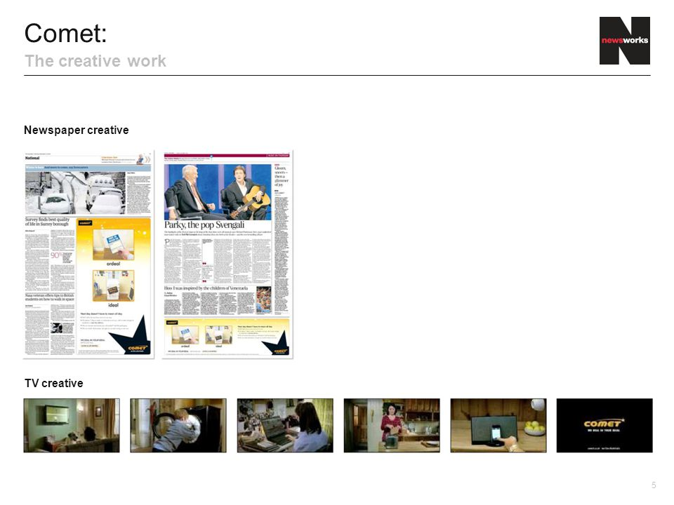 Comet: The creative work Newspaper creative TV creative 5