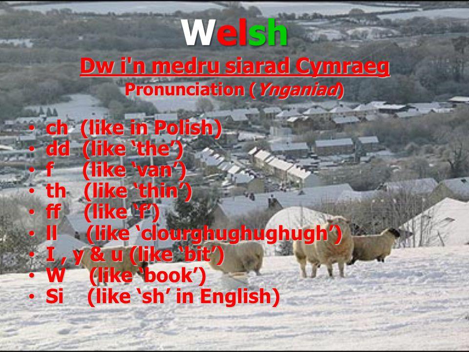 Welsh Dw i n medru siarad Cymraeg Pronunciation (Ynganiad) ch (like in Polish) ch (like in Polish) dd (like 'the') dd (like 'the') f (like 'van') f (like 'van') th (like 'thin') th (like 'thin') ff (like 'f') ff (like 'f') ll (like 'clourghughughugh') ll (like 'clourghughughugh') I, y & u (like 'bit') I, y & u (like 'bit') W (like 'book') W (like 'book') Si (like 'sh' in English) Si (like 'sh' in English)