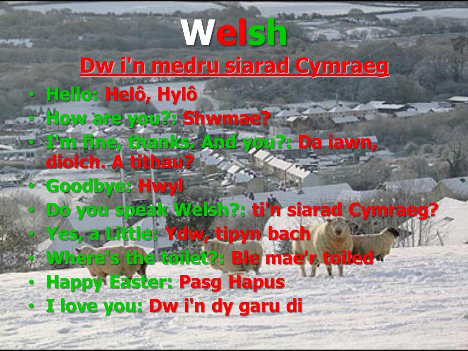 Welsh Dw i n medru siarad Cymraeg Hello: Helô, Hylô Hello: Helô, Hylô How are you : Shwmae.