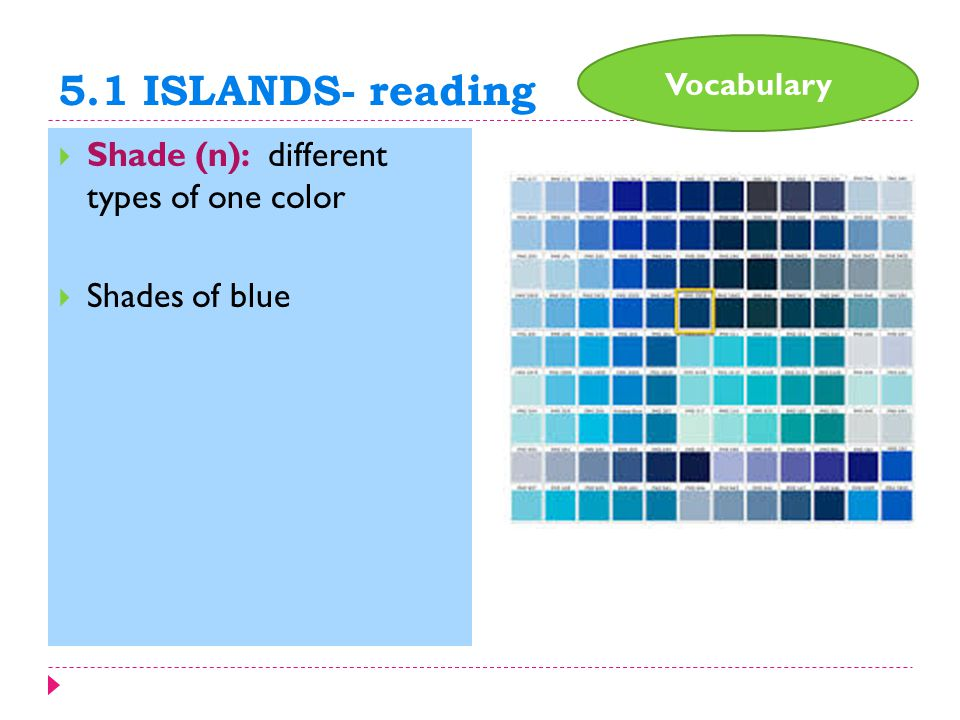 5.1 ISLANDS- reading  Shade (n): different types of one color  Shades of blue Vocabulary
