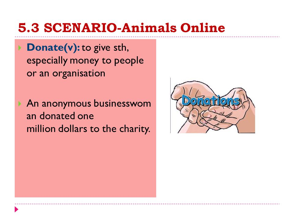 5.3 SCENARIO-Animals Online  Donate(v): to give sth, especially money to people or an organisation  An anonymous businesswom an donated one million dollars to the charity.