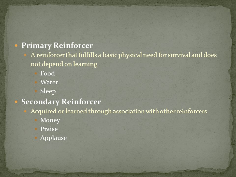Primary Reinforcer A reinforcer that fulfills a basic physical need for survival and does not depend on learning Food Water Sleep Secondary Reinforcer Acquired or learned through association with other reinforcers Money Praise Applause