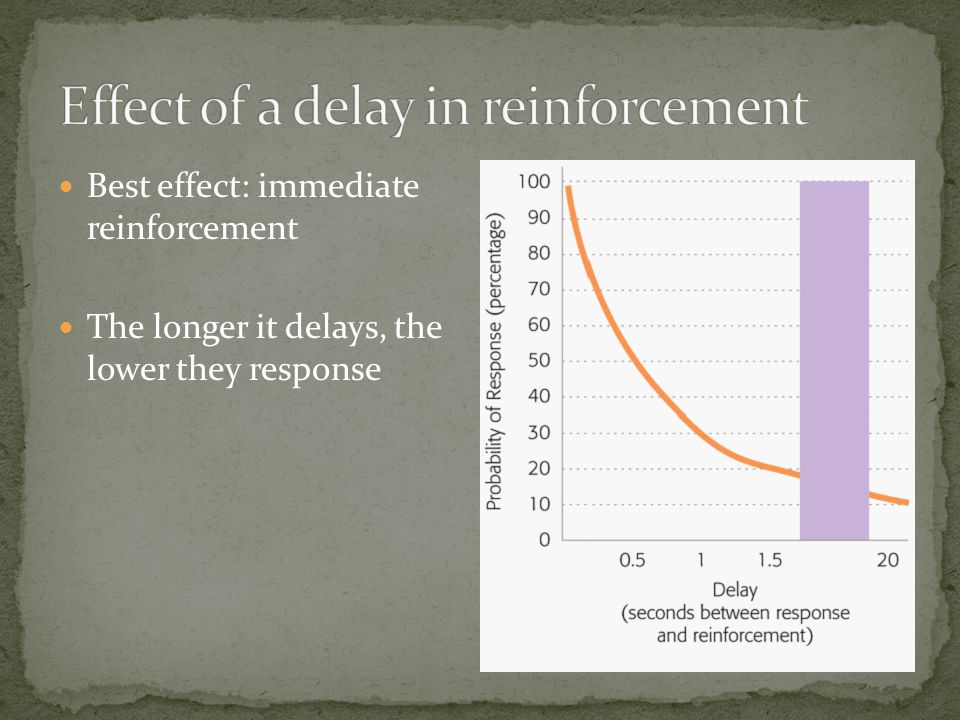 Best effect: immediate reinforcement The longer it delays, the lower they response