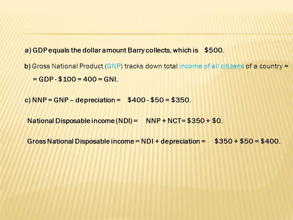 = GDP - $100 = 400 = GNI.