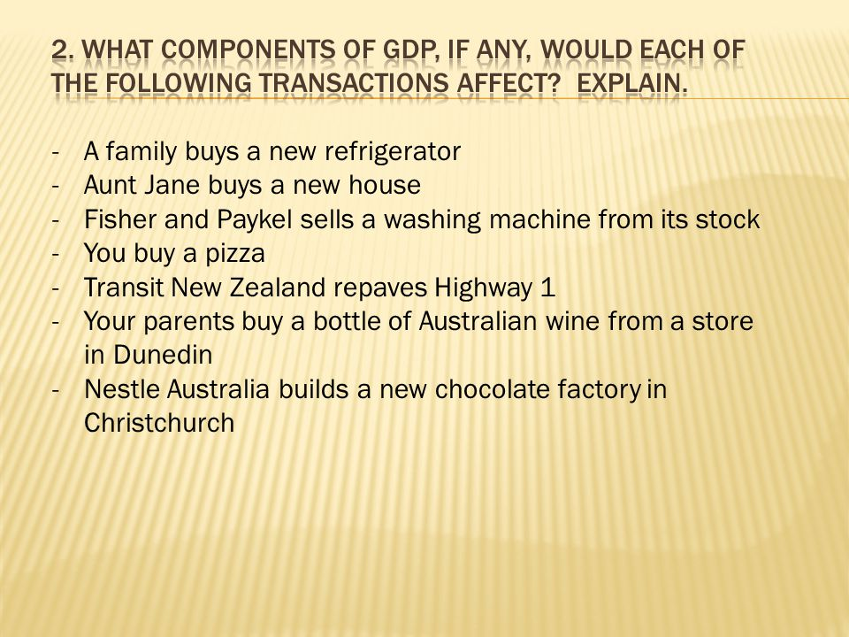 -A family buys a new refrigerator -Aunt Jane buys a new house -Fisher and Paykel sells a washing machine from its stock -You buy a pizza -Transit New Zealand repaves Highway 1 -Your parents buy a bottle of Australian wine from a store in Dunedin -Nestle Australia builds a new chocolate factory in Christchurch