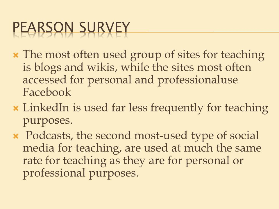  The most often used group of sites for teaching is blogs and wikis, while the sites most often accessed for personal and professionaluse Facebook  LinkedIn is used far less frequently for teaching purposes.