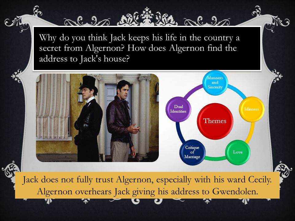 Why do you think Jack keeps his life in the country a secret from Algernon.