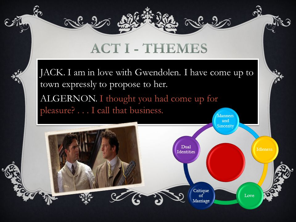 JACK. I am in love with Gwendolen. I have come up to town expressly to propose to her.