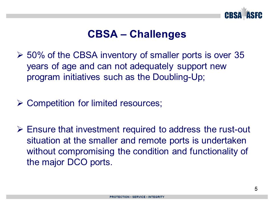 5 CBSA – Challenges  50% of the CBSA inventory of smaller ports is over 35 years of age and can not adequately support new program initiatives such as the Doubling-Up;  Competition for limited resources;  Ensure that investment required to address the rust-out situation at the smaller and remote ports is undertaken without compromising the condition and functionality of the major DCO ports.