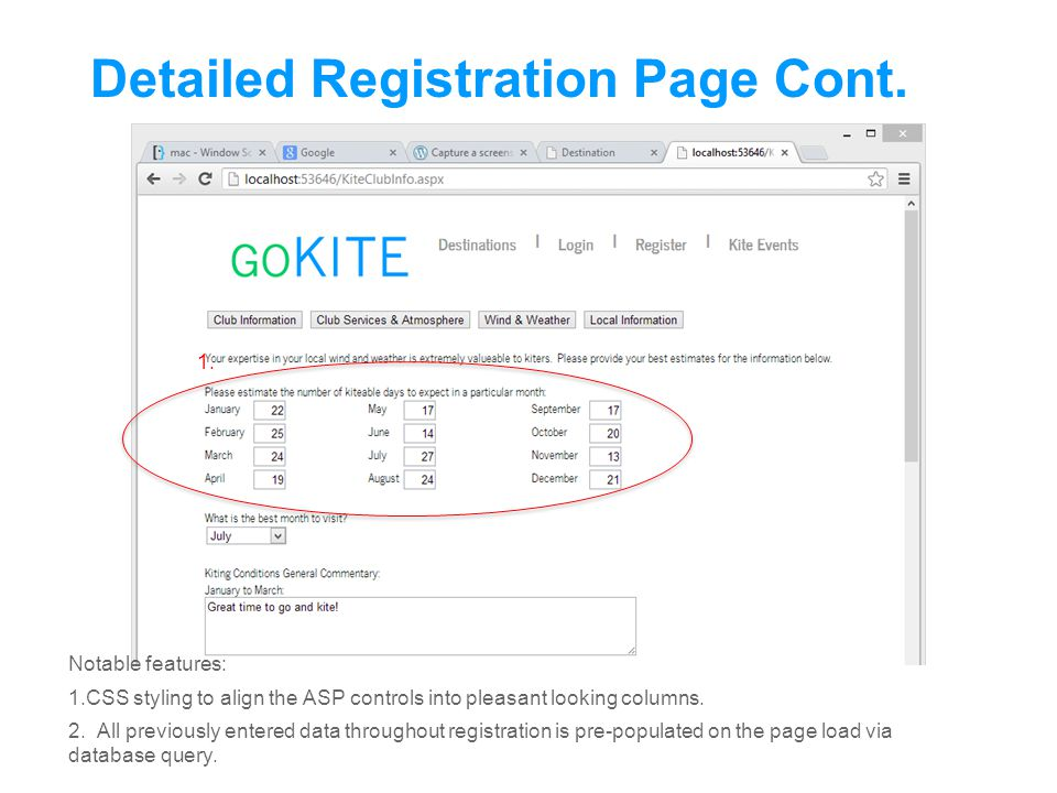 Detailed Registration Page Cont.