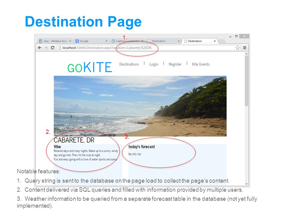 Destination Page Notable features: 1.