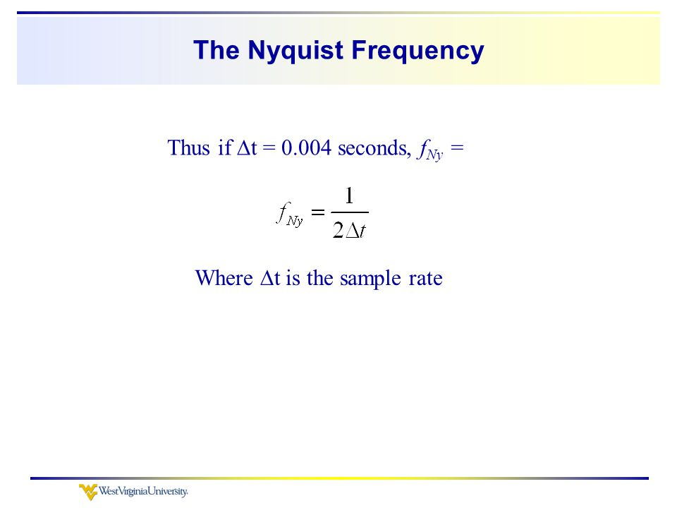 The Nyquist Frequency Where  t is the sample rate Thus if  t = 0.004 seconds, f Ny =