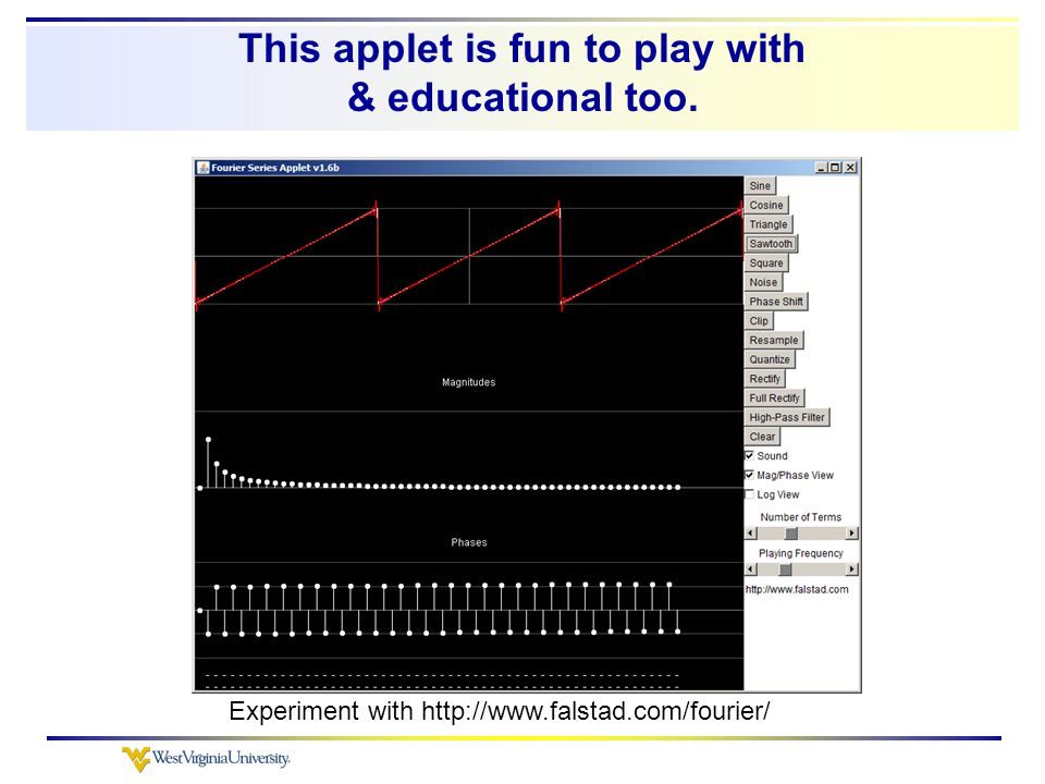 This applet is fun to play with & educational too. Experiment with http://www.falstad.com/fourier/