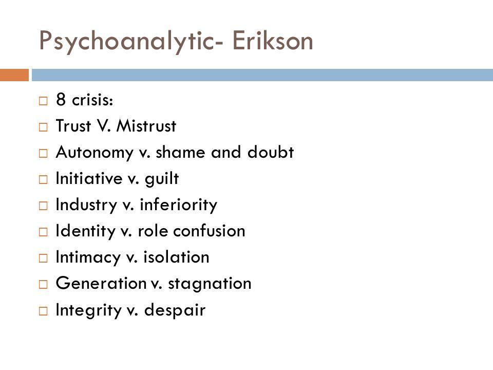 Psychoanalytic- Erikson  8 crisis:  Trust V.Mistrust  Autonomy v.