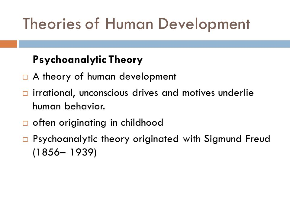 Theories of Human Development Psychoanalytic Theory  A theory of human development  irrational, unconscious drives and motives underlie human behavi