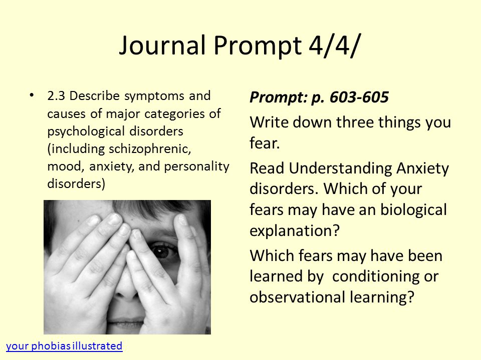 Journal Prompt 4/4/ 2.3 Describe symptoms and causes of major categories of psychological disorders (including schizophrenic, mood, anxiety, and personality disorders) Prompt: p.