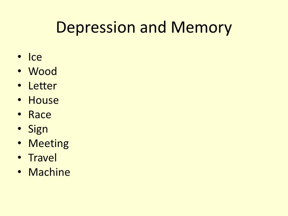 Depression and Memory Ice Wood Letter House Race Sign Meeting Travel Machine