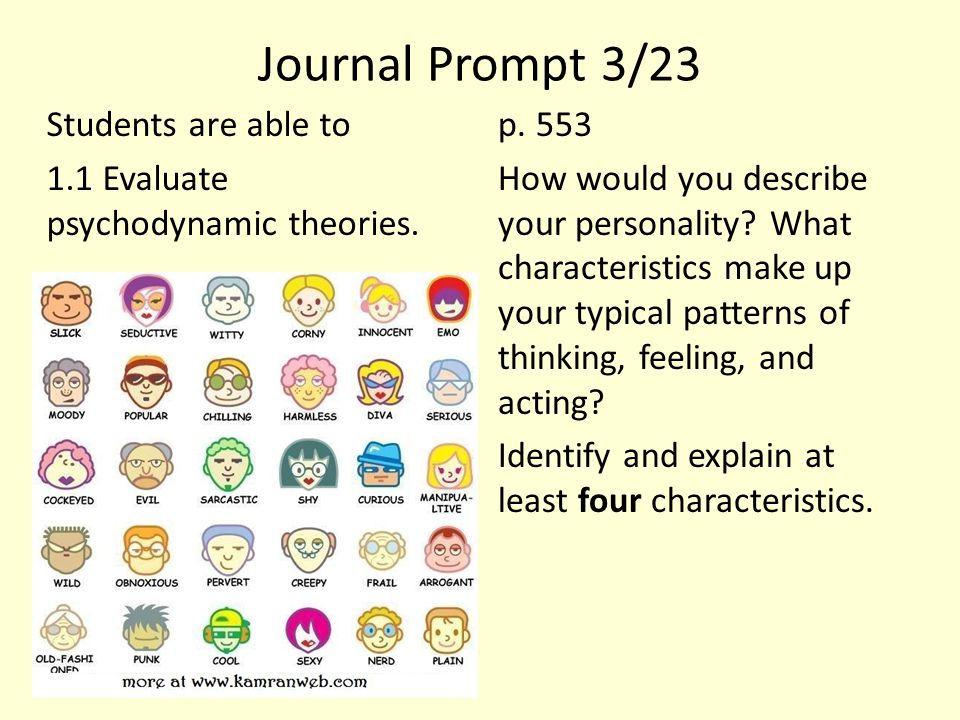 Journal Prompt 3/23 Students are able to 1.1 Evaluate psychodynamic theories. p. 553 How would you describe your personality? What characteristics mak