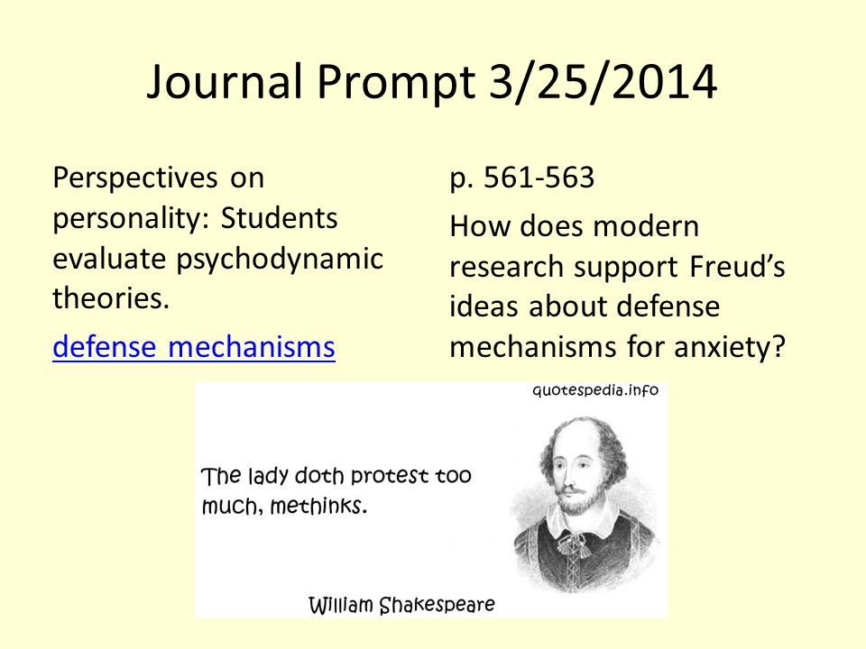Journal Prompt 3/25/2014 Perspectives on personality: Students evaluate psychodynamic theories. defense mechanisms p. 561-563 How does modern research