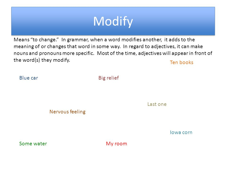 Modify Means to change. In grammar, when a word modifies another, it adds to the meaning of or changes that word in some way.