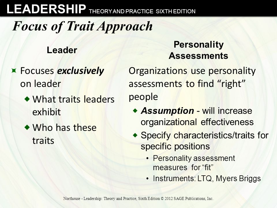 LEADERSHIP THEORY AND PRACTICE SIXTH EDITION Focus of Trait Approach  Focuses exclusively on leader  What traits leaders exhibit  Who has these tra