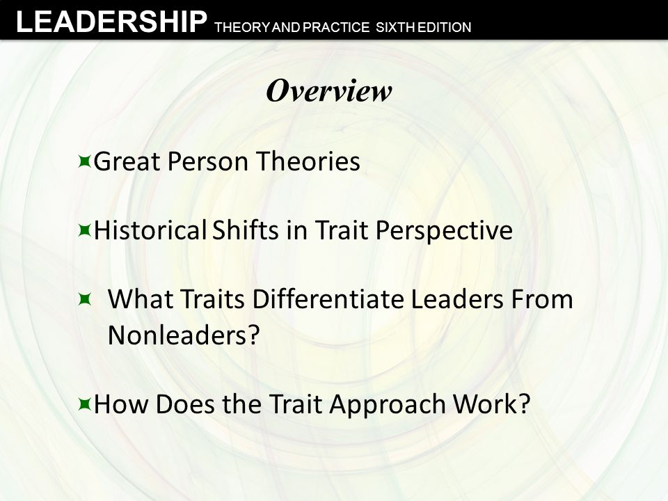 LEADERSHIP THEORY AND PRACTICE SIXTH EDITION Overview  Great Person Theories  Historical Shifts in Trait Perspective  What Traits Differentiate Lea