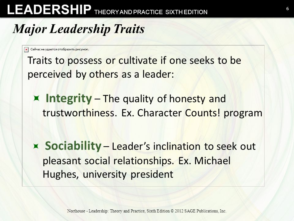 LEADERSHIP THEORY AND PRACTICE SIXTH EDITION Major Leadership Traits  Integrity – The quality of honesty and trustworthiness. Ex. Character Counts! p