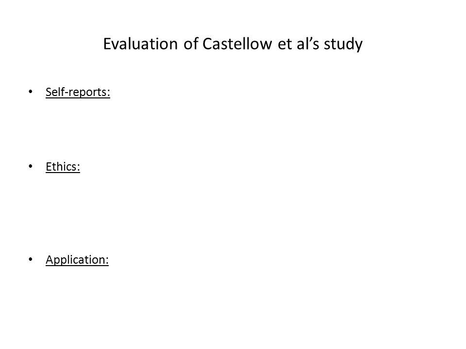 Evaluation of Castellow et al's study Self-reports: Ethics: Application: