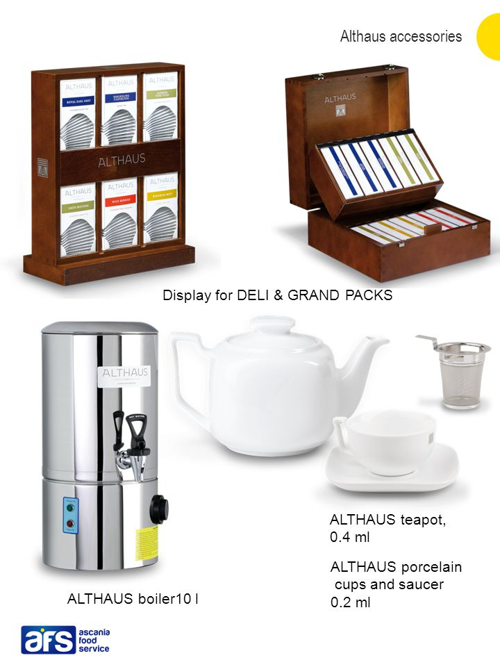 Althaus accessories Display for DELI & GRAND PACKS ALTHAUS porcelain cups and saucer 0.2 ml ALTHAUS teapot, 0.4 ml ALTHAUS boiler10 l